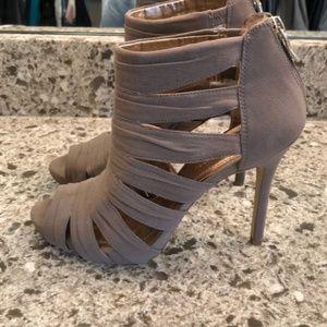 BCBG strappy taupe heels